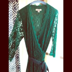 Emerald Green Lace Wrap Dress